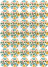 Happy Mail Stickers With Yellow/Blue Text - Cute Kawaii Style Paper Stickers